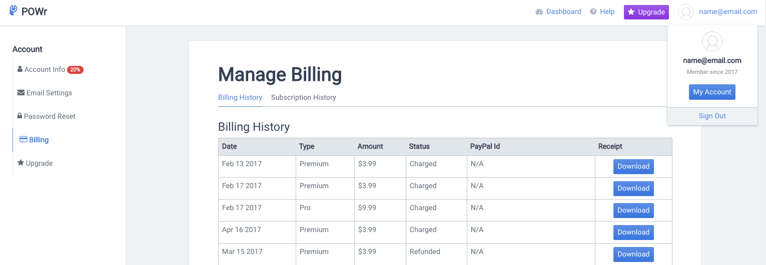 downloading powr account invoices and receipts powr